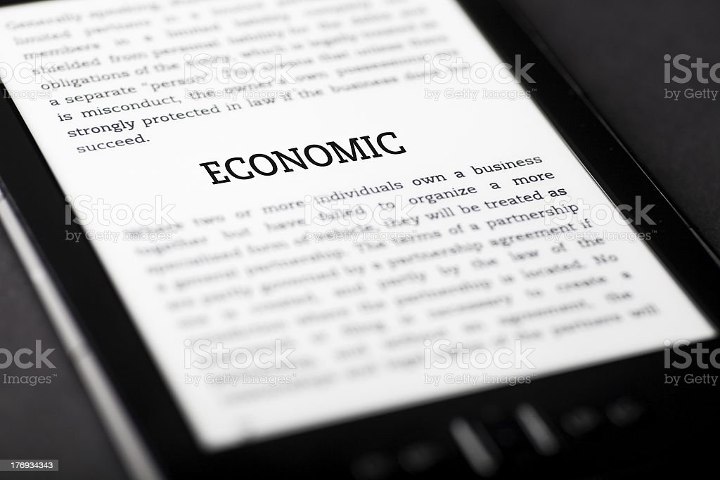 Economic on tablet touchpad, ebook concept royalty-free stock photo