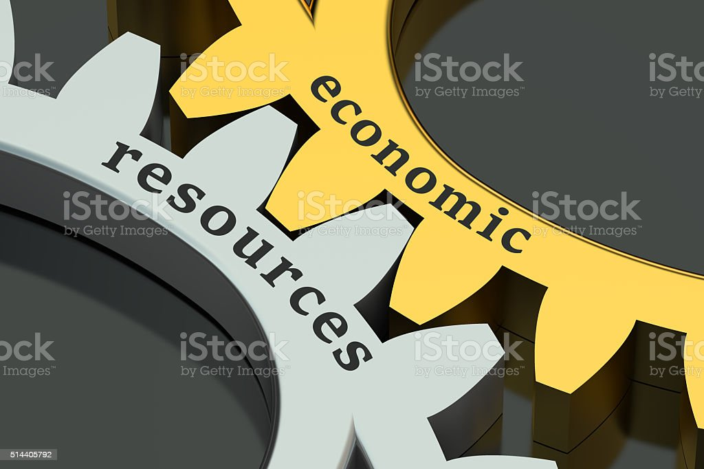 Economic Resources concept on the gearwheels stock photo
