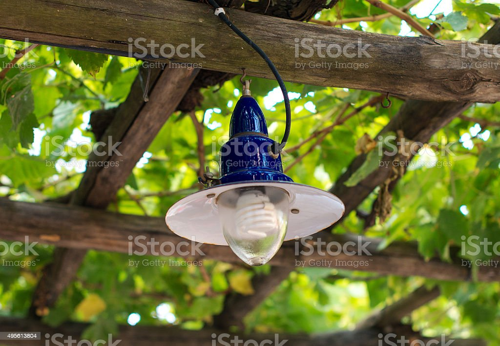 Economical spiral light in the garden. stock photo