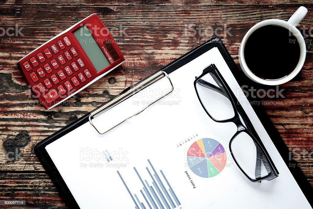 economist table with report stock photo