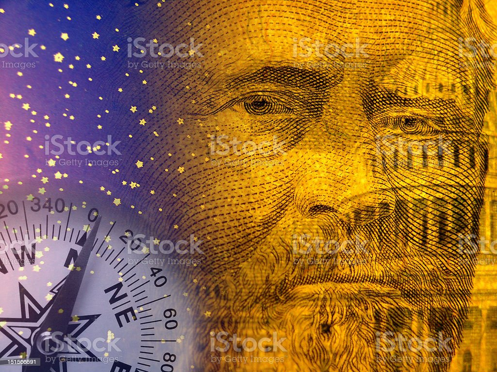 Economy abstract with US capitol and old president stock photo