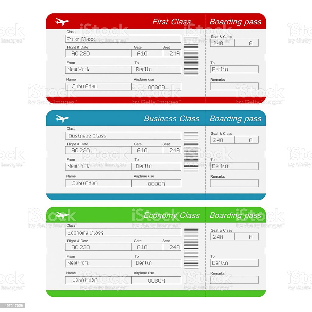 Economy Class, Business Class and First Class Airline tickets stock photo