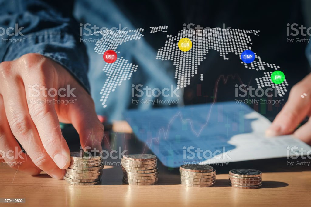 Economy, finance, stock market background. Economics background with abstract stock market graph,financial data and world map stock photo