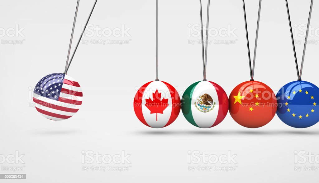 USA Economy Global Market Trading Impact Concept stock photo