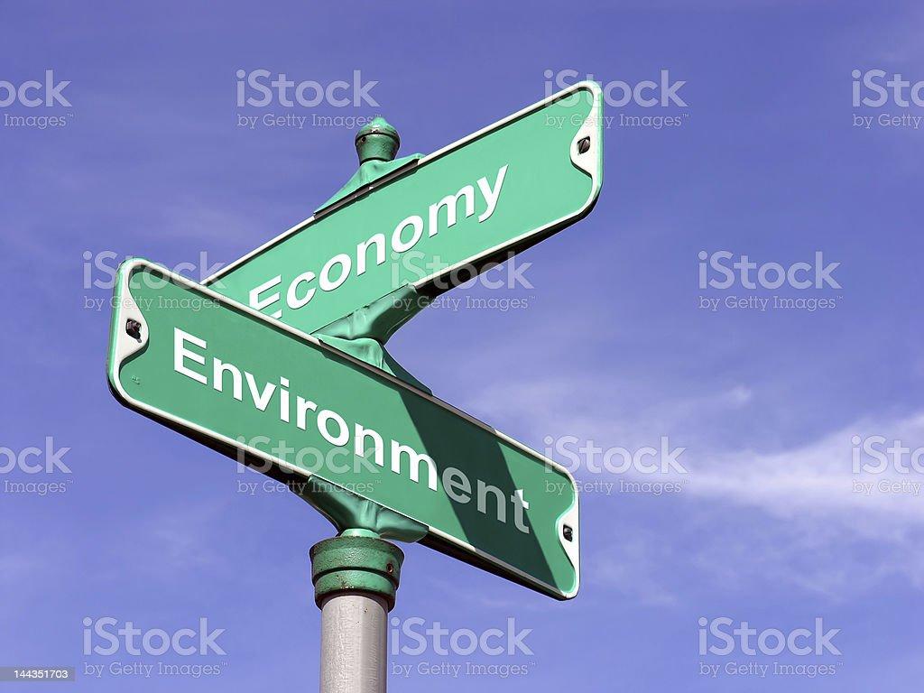 Economy VS Environment stock photo