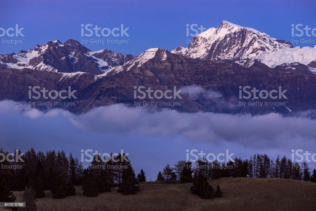 Ecrins National Park at dusk. Champsaur, Alps, France stock photo