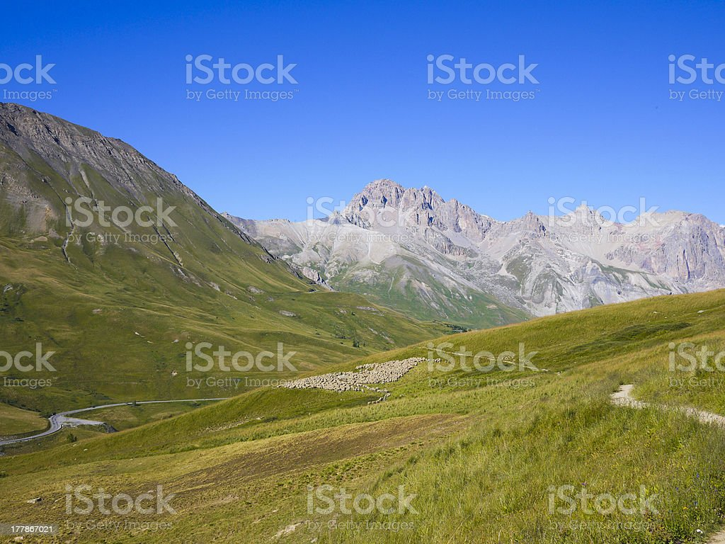 Ecrins National Park from Col du Lautaret, Alps Mountains, France royalty-free stock photo