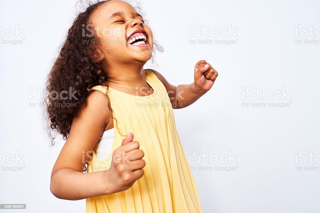 Ecstatic African-American Girl stock photo