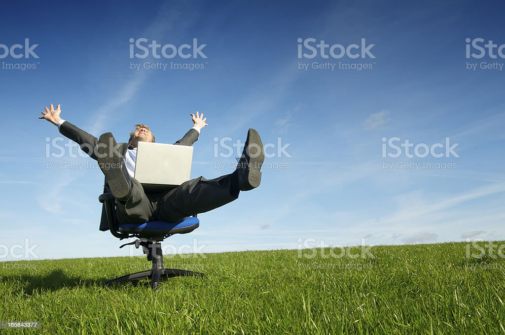 Ecstatic Businessman Celebrates w Laptop in Meadow royalty-free stock photo