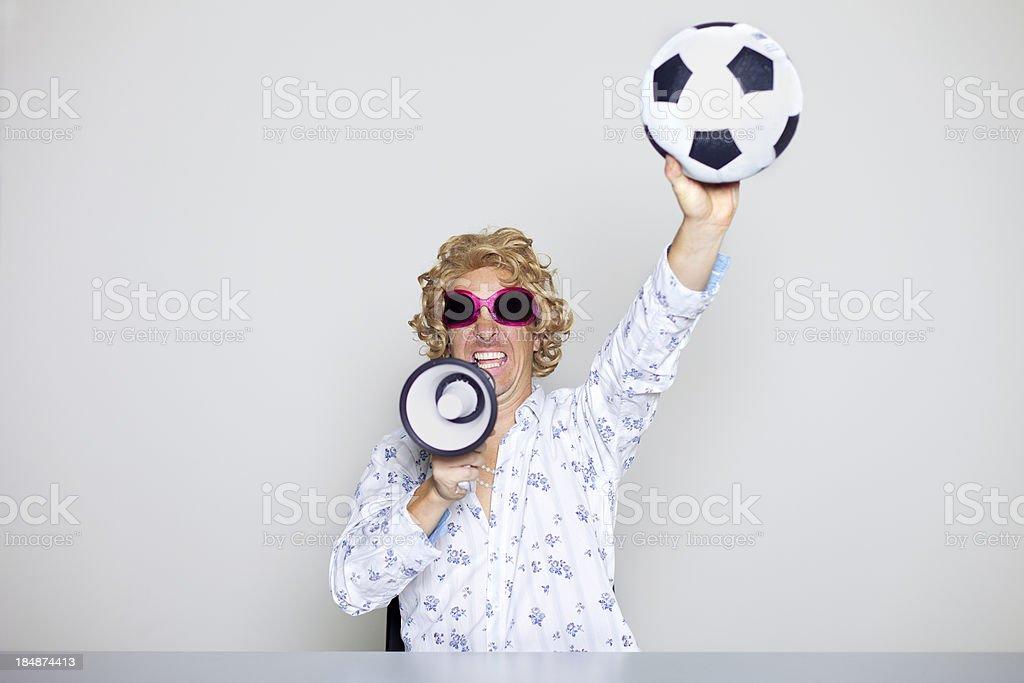 Ecstatic football fan royalty-free stock photo