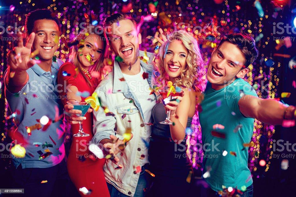Ecstatic friends stock photo
