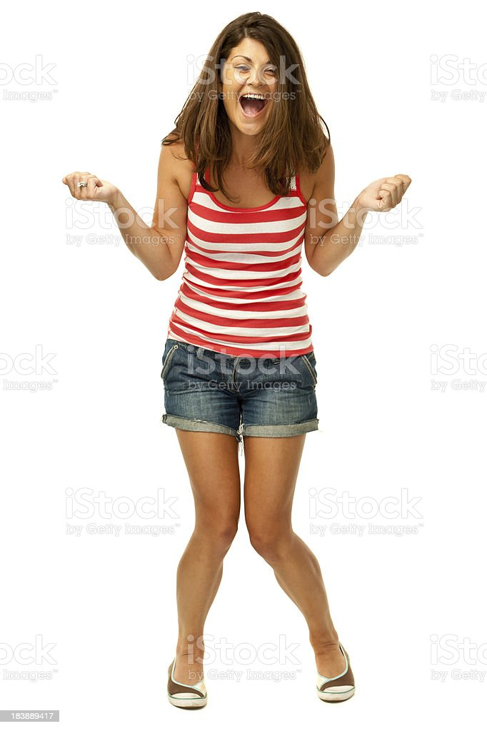 Ecstatic Happy Young Woman stock photo
