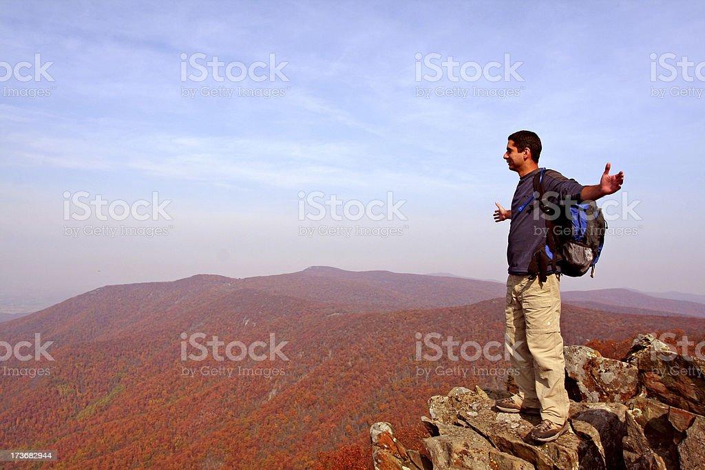 Ecstatic hiker royalty-free stock photo
