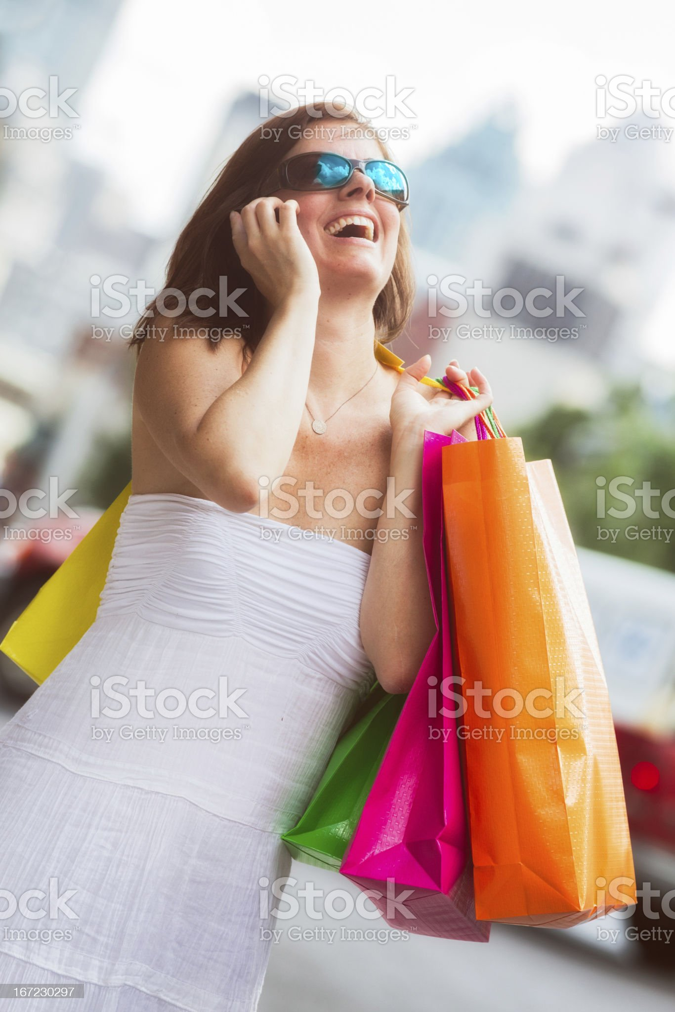 Ecstatic shopper in the streets of Montreal royalty-free stock photo