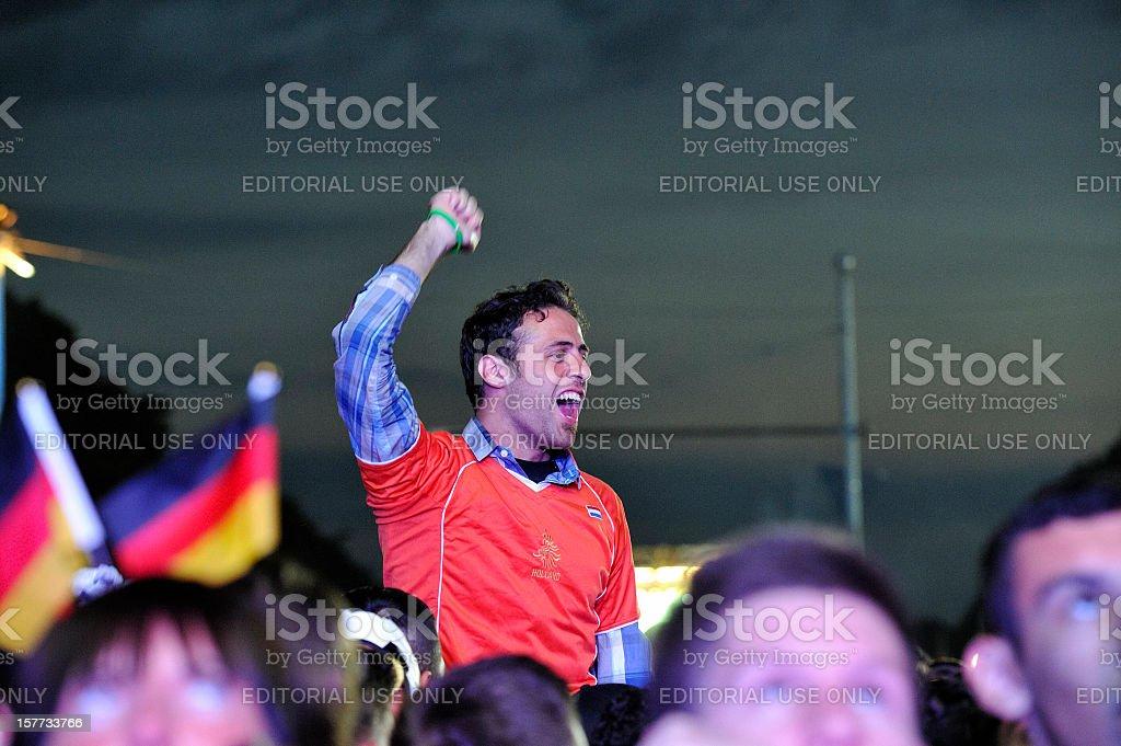 Ecstatic Soccer Fan After Netherlands Team Scoring Goal stock photo