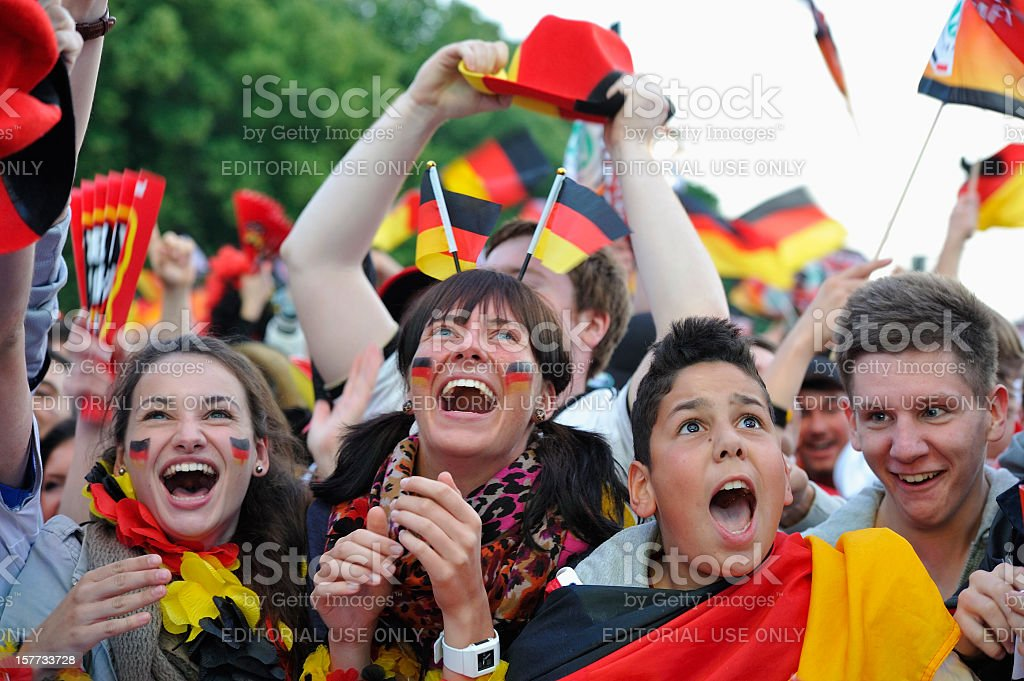 Ecstatic Soccer Fans After German Team Scoring First Goal stock photo