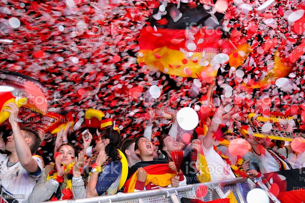 Ecstatic Soccer Fans at Public Viewing Area Brandenburger Tor stock photo
