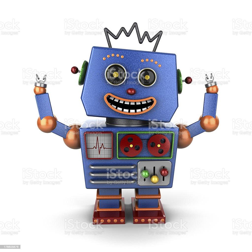 Ecstatic vintage toy robot stock photo