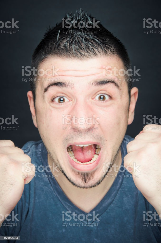Ecstatic Young Man Face Expression royalty-free stock photo