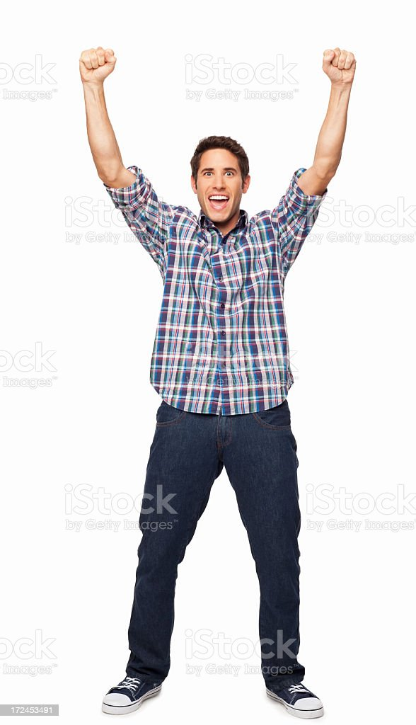 Ecstatic Young Man - Isolated royalty-free stock photo
