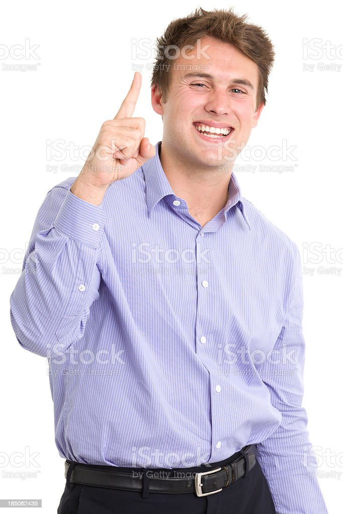Ecstatic Young Man One Finger Gesture royalty-free stock photo