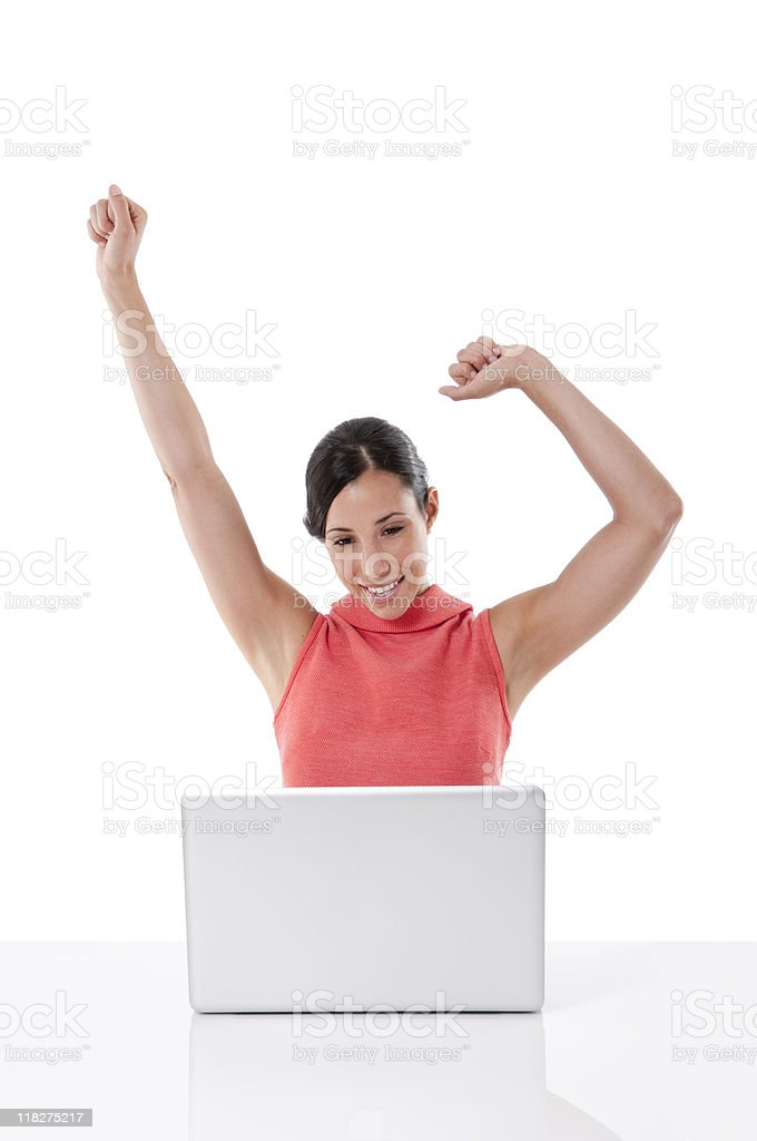 Ecstatic Young woman With Laptop royalty-free stock photo