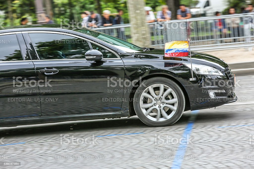 Ecuador Diplomatic car during Military parade stock photo