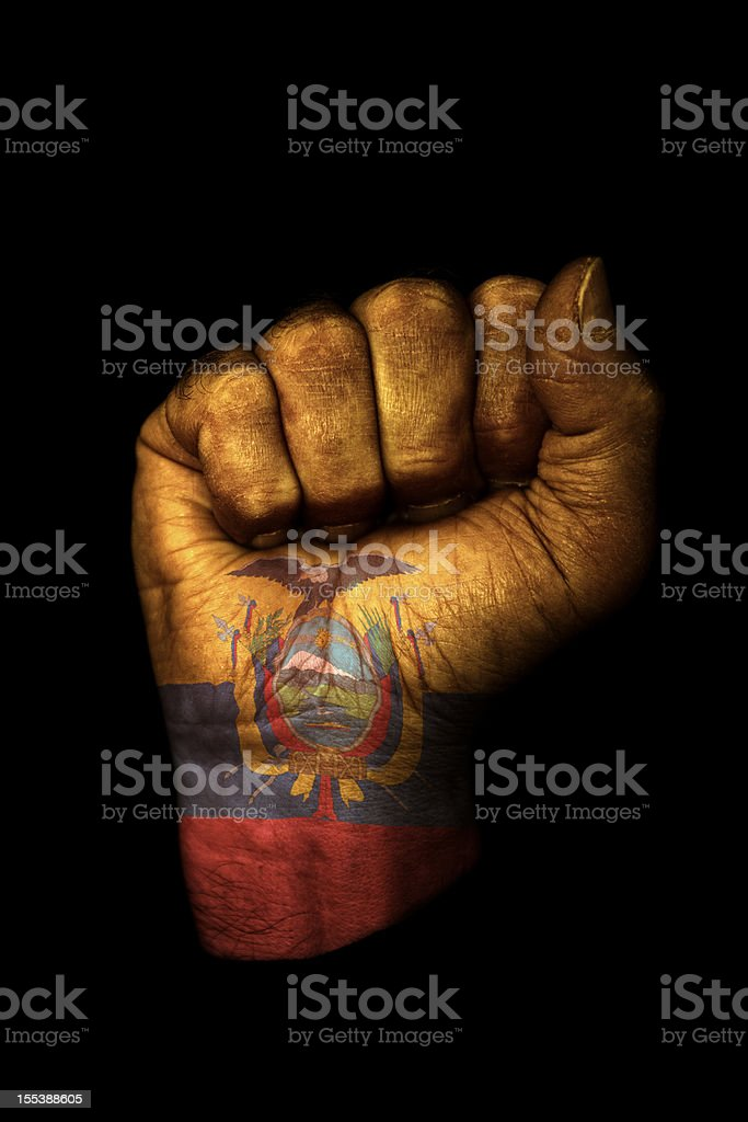 Ecuador Flag Fist stock photo