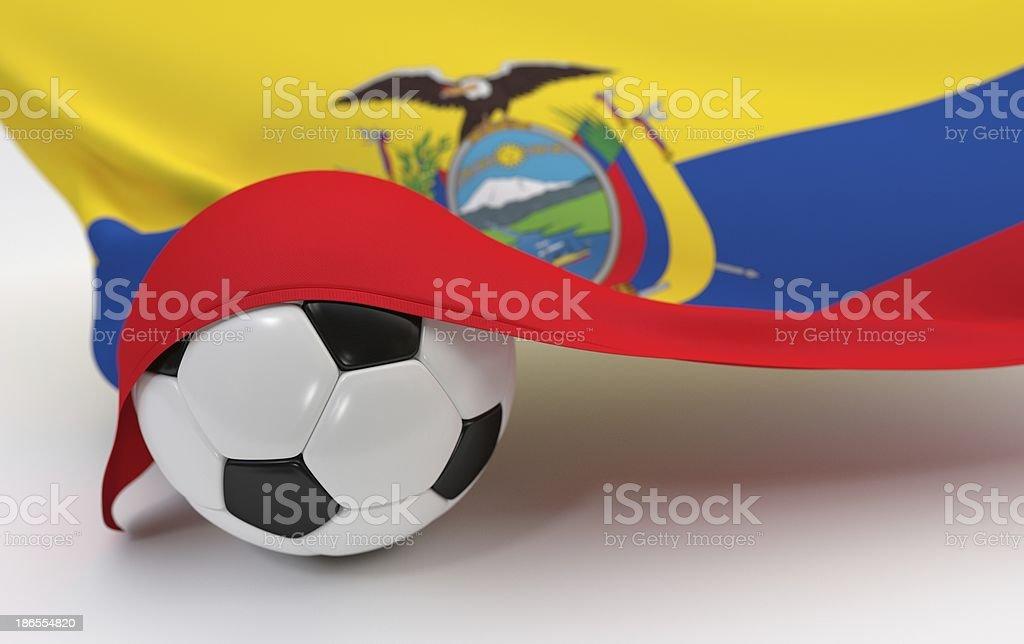 Ecuador flag with championship soccer ball stock photo