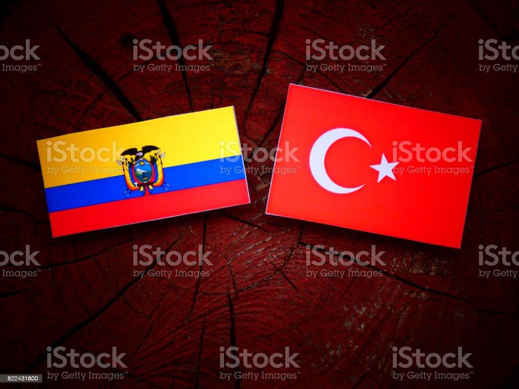 Ecuador flag with Turkish flag on a tree stump isolated stock photo