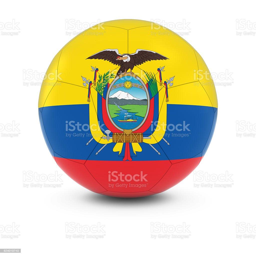 Ecuador Football - Ecuadorian Flag on Soccer Ball stock photo