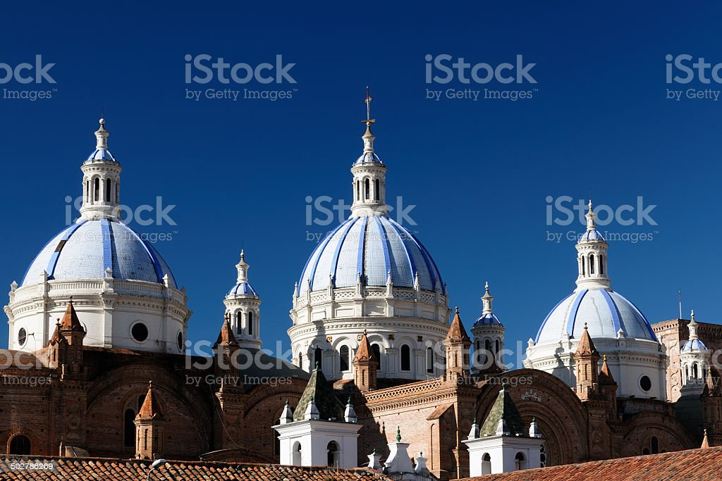 Ecuador, View on the Domed Cathedral in Cuenca city stock photo
