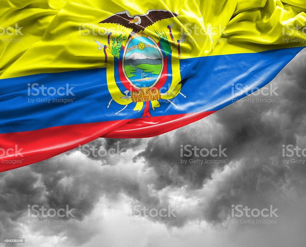 Ecuador waving flag on bad day stock photo