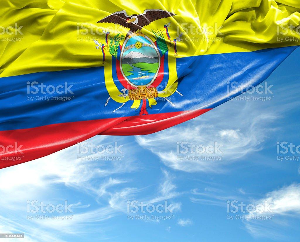 Ecuador waving flag on beautiful day stock photo