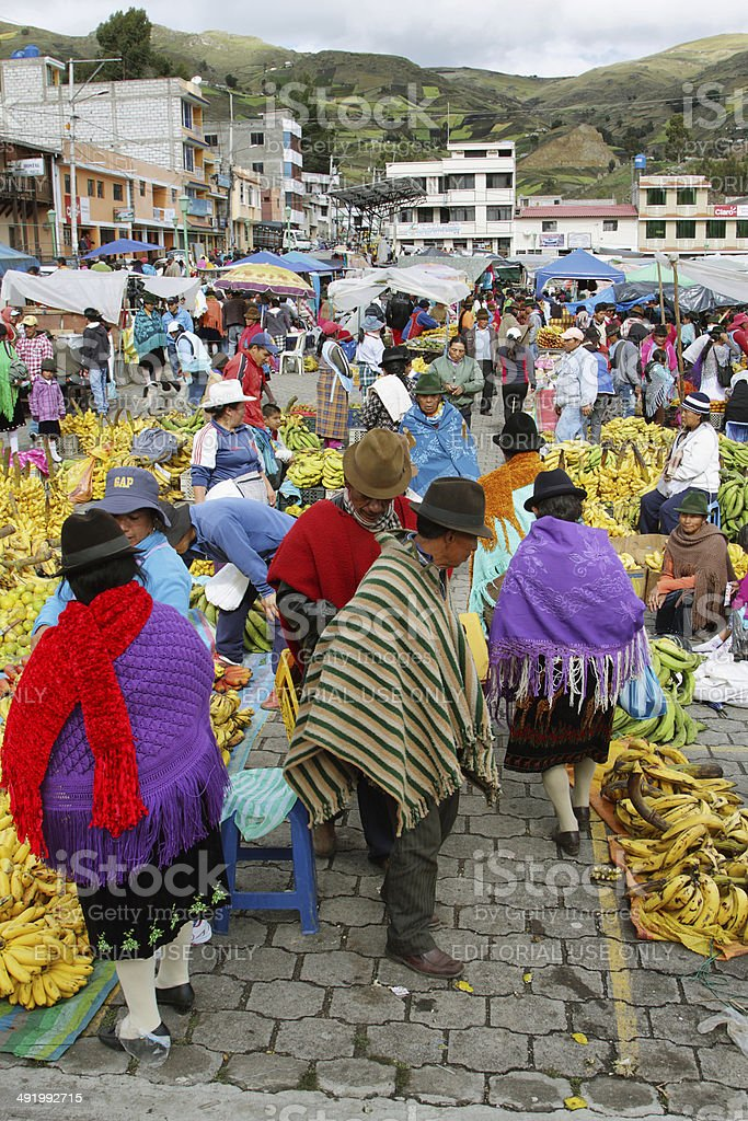 Ecuadorian ethnic people with indigenous clothes stock photo