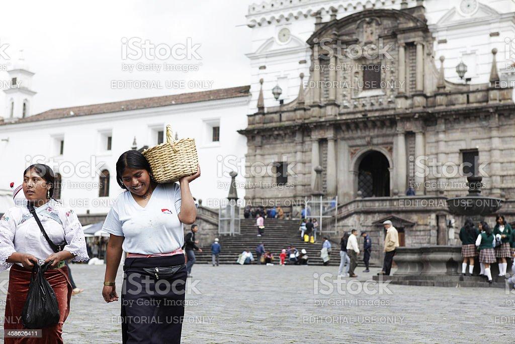Ecuadorian People at the Church of San Francisco - Quito stock photo