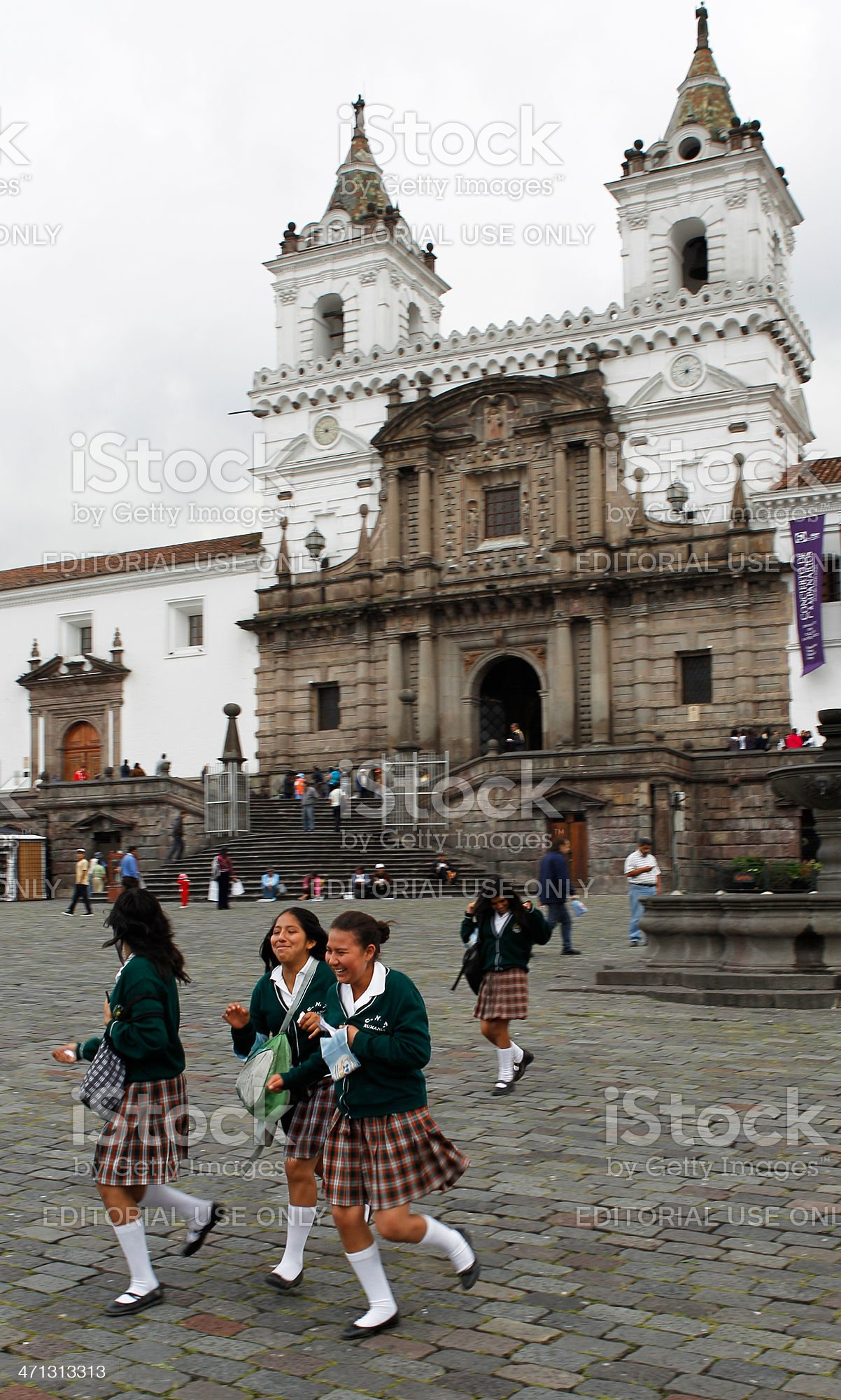 Ecuadorian People at the Church of San Francisco - Quito royalty-free stock photo