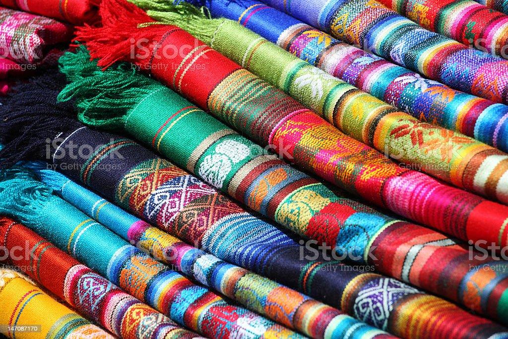 Ecuadorian (Peruvian) traditional fabrics stock photo