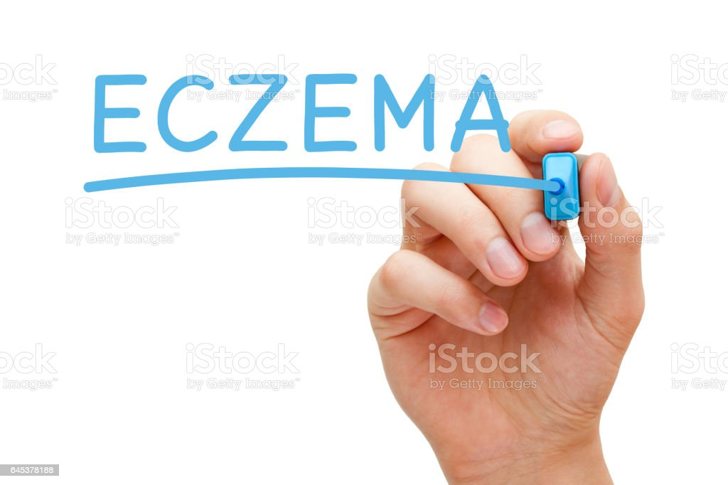 Eczema Handwritten With Blue Marker stock photo