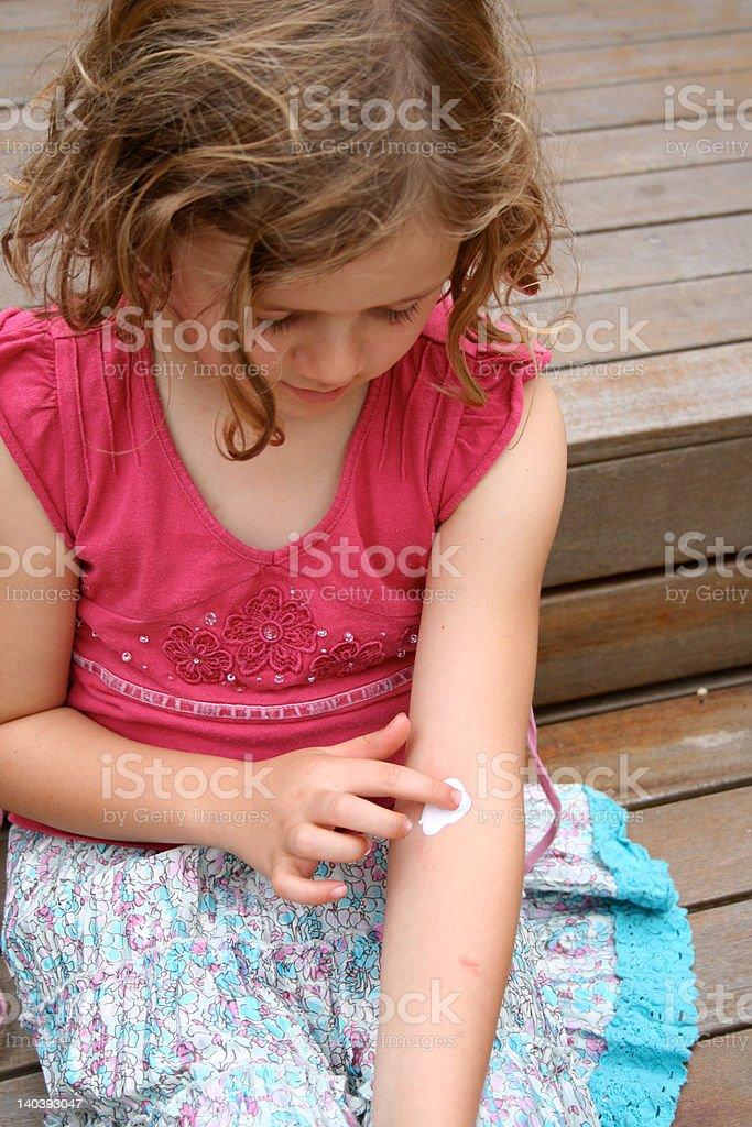 Eczema treatment for child stock photo