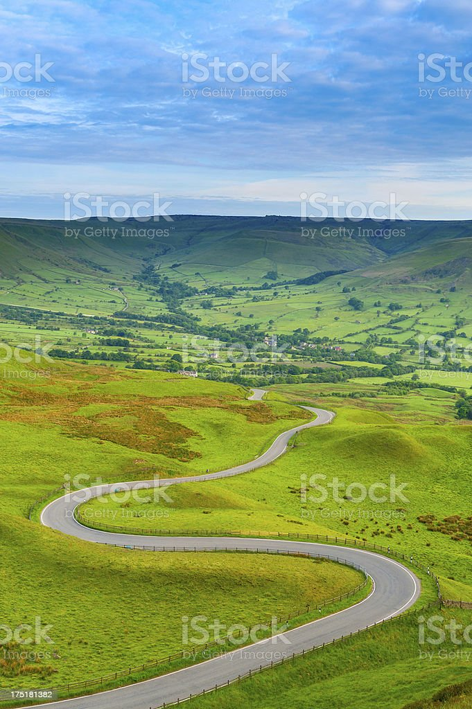 Edale Valley Road, Peak District National Park stock photo
