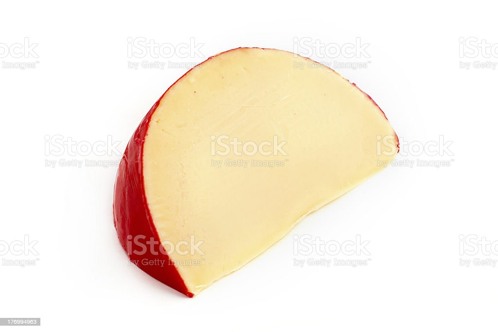 Edam cheese slice over white stock photo