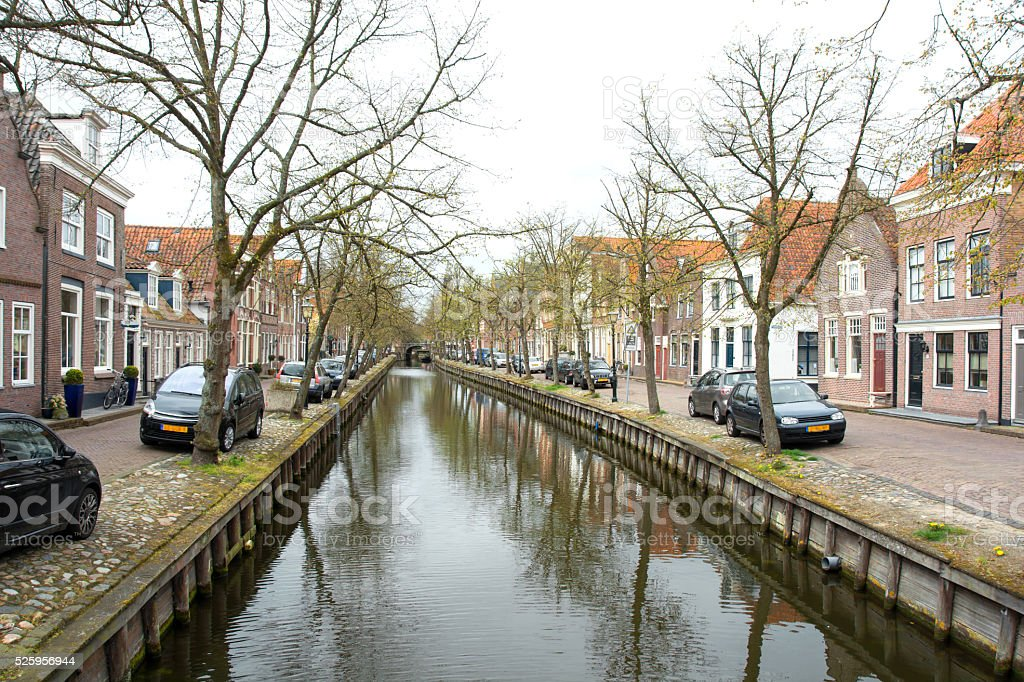 Edam, Netherlands,  canal and buildings in spring stock photo