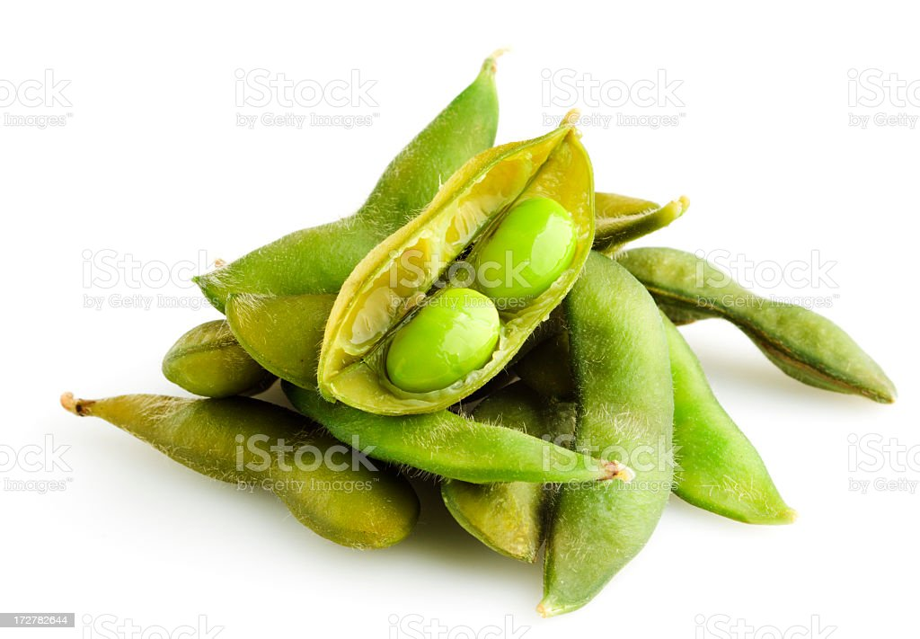 Edamame, a Soybean Legume Bean Vegetable Food, Isolated on White stock photo