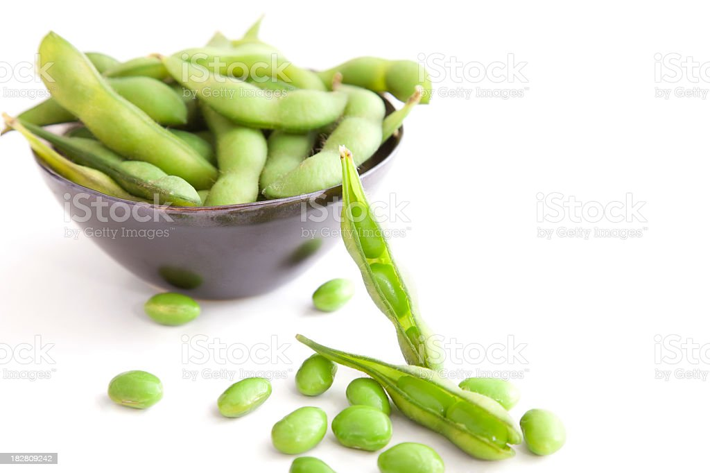Edamame In and Out of Bowl or Pods stock photo