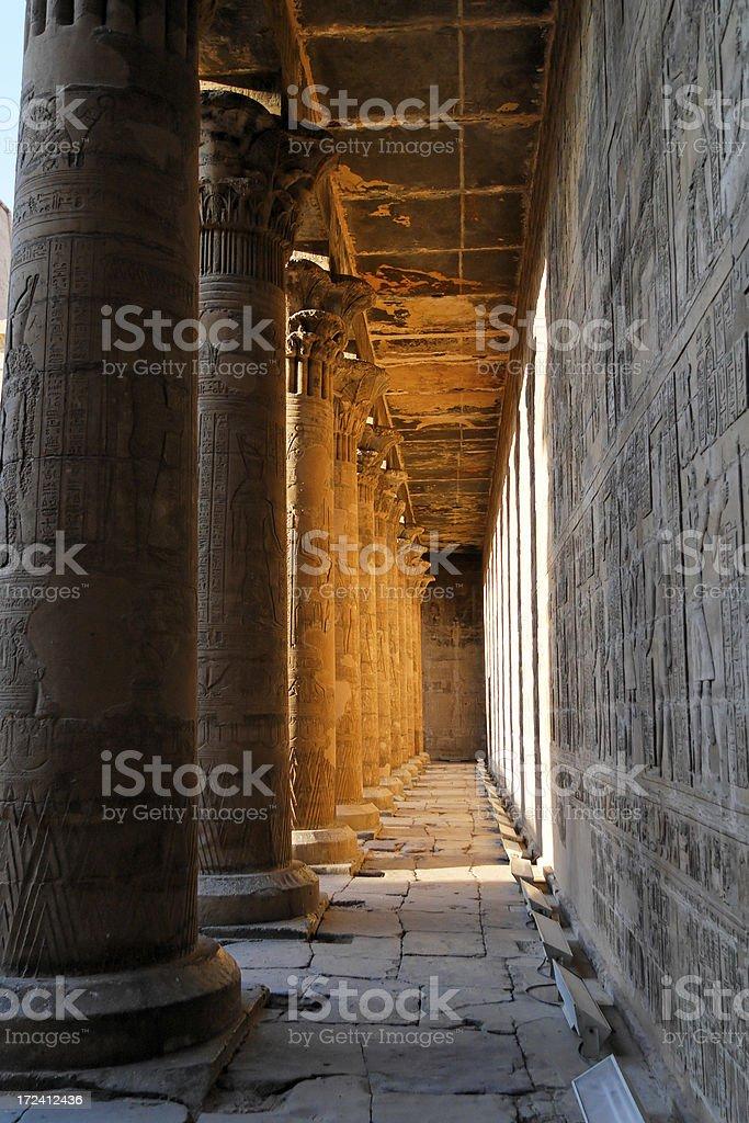 Edfu temple courtyard pillars royalty-free stock photo