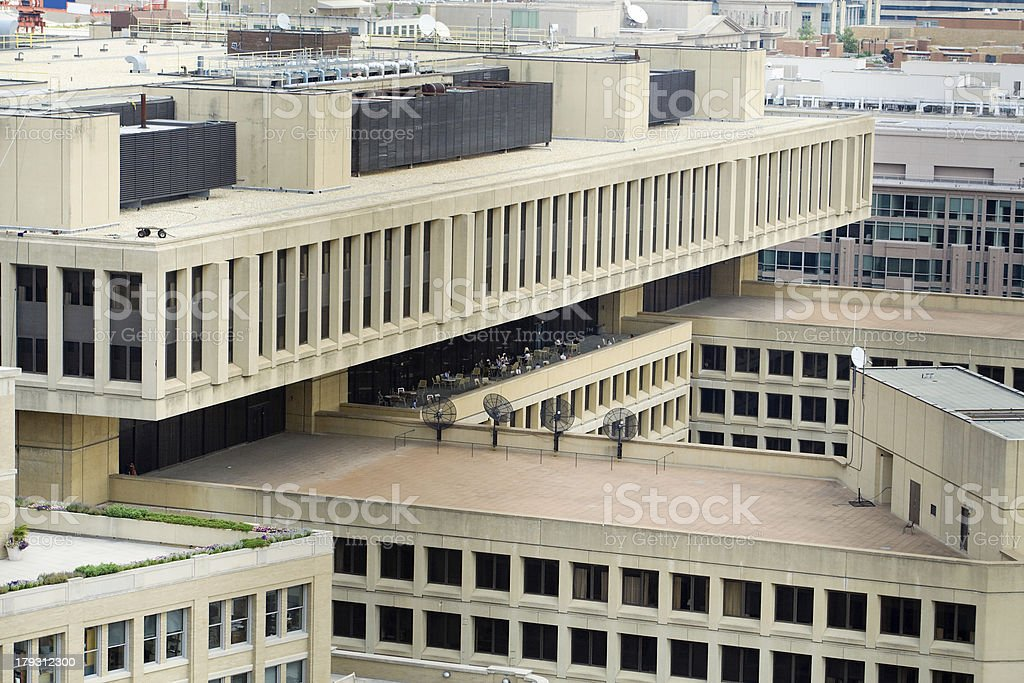 J Edgar Hoover FBI Building from Above, Washington, DC, USA stock photo