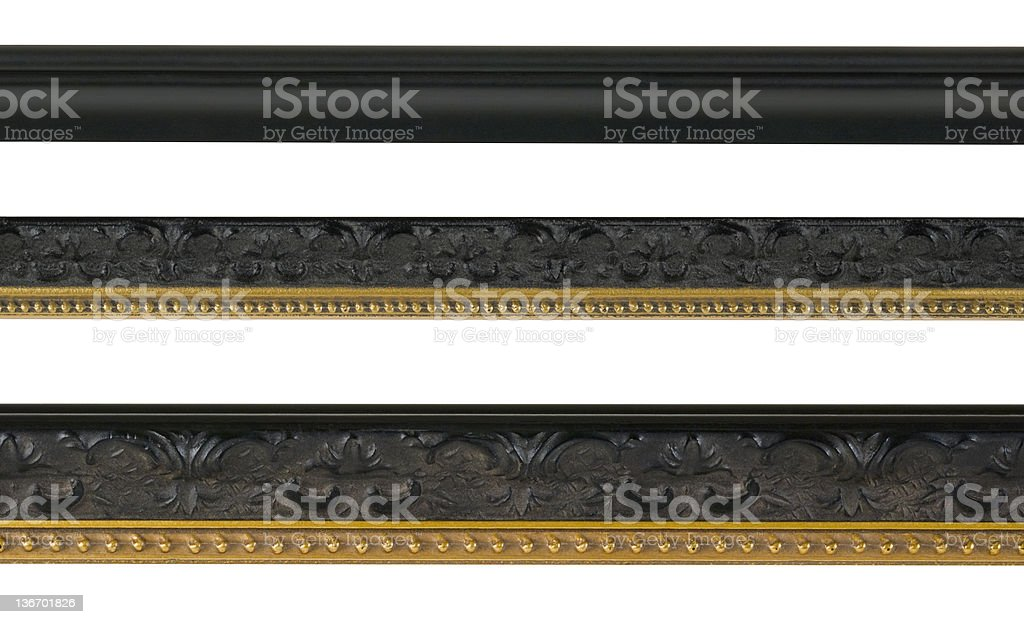 Edge and Border Design Elements in Black, White Isolated royalty-free stock photo