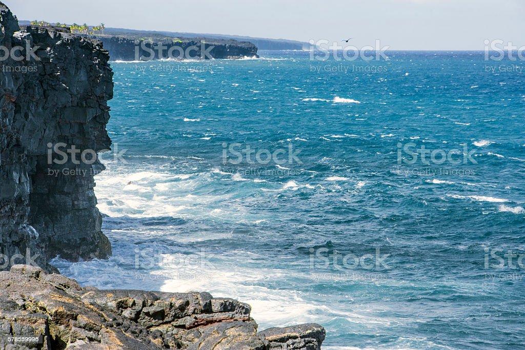 Edge of a lava coast stock photo
