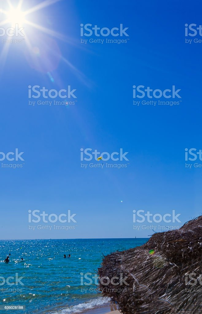 edge of beach umbrella from dry grass with translucent stock photo
